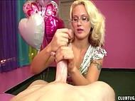 Blonde with glasses was happy with the surprise on Valentine's Day and jerked off her romantic admirer 8