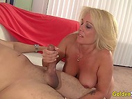 Blonde mature in stockings rides big penis of black man who cums over her tits