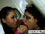 Charley Chase tries to defend herself against London Keyes but Asian girl manages to shove dildo into her mouth