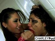 Брюнетка Charley Chase пытается отбиться от азиатки London Keyes, но та всё же запихивает ей дилдо в рот