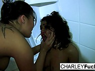 Charley Chase tries to defend herself against London Keyes but Asian girl manages to shove dildo into her mouth 8
