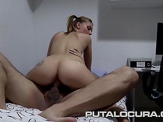 In Spanish video fatty male told cutie what will happen next then erupted sperm into pussy