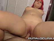 Great-bootied Spanish with red hair swallowed sperm after serving hot cock with vagina