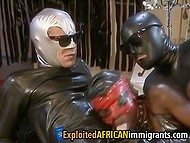 Men in leather costumes take Ebony girl in mask out and stuff her holes with cocks 11