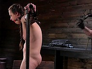 Nice babe with pigtails told about herself before pervert tied her up and brought her thrill in basement 6