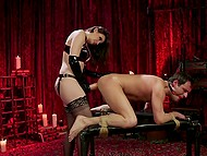 Dominant woman Chanel Preston fucks man with strapon and attaches sex toy to his face for riding