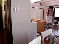 Japanese man helps teen girlfriend and her stepmom to change place and deserves good fuck 7