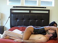 Indian woman in leather corset passionately rubs vagina against obedient husband's face 6