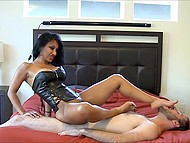 Indian woman in leather corset passionately rubs vagina against obedient husband's face 8