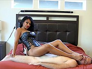 Indian woman in leather corset passionately rubs vagina against obedient husband's face 9