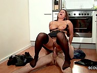 German female with big natural tits tries to look sexy for her boyfriend even cooking in kitchen 10