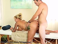 Masseuse with curvy shapes helps client to take off clothes and services him with unusual therapy 11