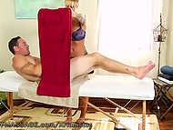 Masseuse with curvy shapes helps client to take off clothes and services him with unusual therapy 4