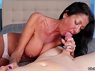 Mature female Nadia Night with pierced nipples stimulates cock with mouth and big tits to get sperm 5