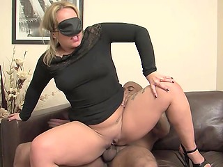 Lustful female with big ass and blindfold played with pussy before sex with black macho
