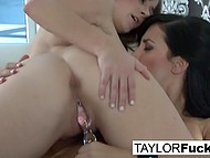 Fabulous Taylor Vixen with great breasts and her beautiful girlfriend finger their unshaven pussies 10