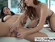 Fabulous Taylor Vixen with great breasts and her beautiful girlfriend finger their unshaven pussies 5
