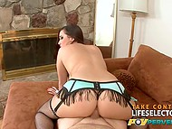 Big-bootied honey in fishnet stockings and with natural breasts got fucked by muscular camera guy 11