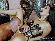 Pearl of the East from China puts on corset and gives sweet pussy to older businessman