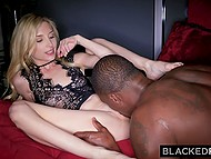 Blonde cutie Piper Perri enjoys watching BBC of her new friend penetrating tiny pussy 4
