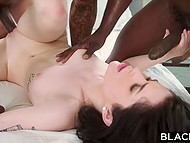 Excited brunette takes black male to house to suck big cock and soon his friend joins them 9