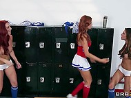 Cheerleaders Kortney Kane, Jayden James, and Jayden Cole toy assholes with dildos in locker room 5
