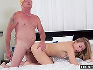 Blonde Alexa Grace spanks Donald Trump's ass then he fucks shaved pussy and cums inside