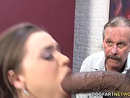 Mature husband with whiskers jerks off and watches huge black dick drilling young wife 7