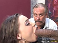 Mature husband with whiskers jerks off and watches huge black dick drilling young wife