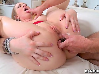 Bitchy Vicky Vixen with big boobies got cork into asshole and penis into unshaven pussy