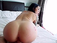 Tattooed babe with big buttocks made camera guy cum on her face after making love 5