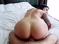 Tattooed babe with big buttocks made camera guy cum on her face after making love 6