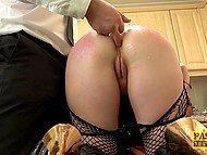 Brunette in fishnet stockings bent over chair and waited her butt gets oiled before anal sex 6
