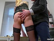 Man asked secretary in black stockings to help him out and fucked her roughly in butthole in office 3