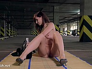 Russian minx Jeny Smith takes off clothes and oils tiny goodies at private parking 6