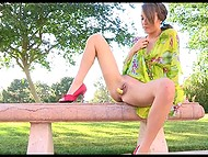 Cheerful hottie purposely goes outside without panties to stimulate pussy with small squash 4