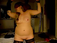 Lustful Danish man ties up, blindfolds and spanks his fat wife in homemade BDSM party 7