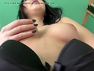 Whorish brunette from Latvia takes pantyhose down halfway wanting fucker to drill smooth pussy 3