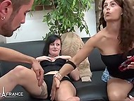 French women stimulate pussies with sex toys waiting for their turn to ride on hard dick