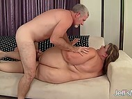 Patient BBW Erin Green watched old man teasing boobies then had awesome fuck on white sofa 4