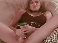 After playing with vibrator, slim lady enjoyed foreplay and got fucked in doggystyle position
