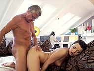 Old man fingered shaved pussy and fucked cute brunette with pigtails while her boyfriend was working in headphones