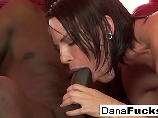 Excited Dana DeArmond took black dick out of man's pants and moistened it for upcoming anal fuck