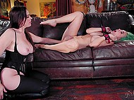 Lesbian Dana DeArmond brings busty submissive with green wig to living room where licks and fingers her pussy 5