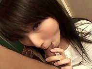 Teenage Japanese doll has no place to go in big city, so random guy gives her shelter for a blowjob 8