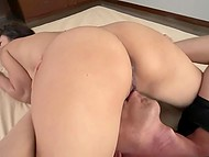 Male goes crazy about Japanese MILF's big boobs and licks her asshole before pussy creampie 4