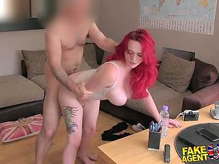Red-haired debutante impresses British agent with her juicy shapes at porn casting