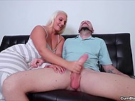 Husband lost his job and was frustrated but blonde wife gave him handjob to cheer man up 6