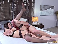 Bald dude worked hard with tongue and screwed drop-dead gorgeous lady in black stockings 9