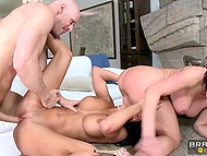 Buxom pornstars in high heels postponed all affairs to fool around with bald macho's cock 7